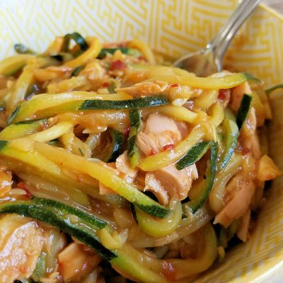 Tuna and Zucchini Noodles in Spicy Asian Peanut Sauce