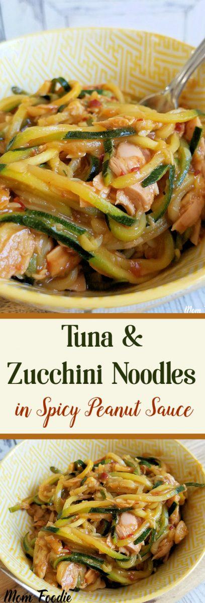 Tuna & Zucchini Noodles in Spicy Asian Peanut Sauce