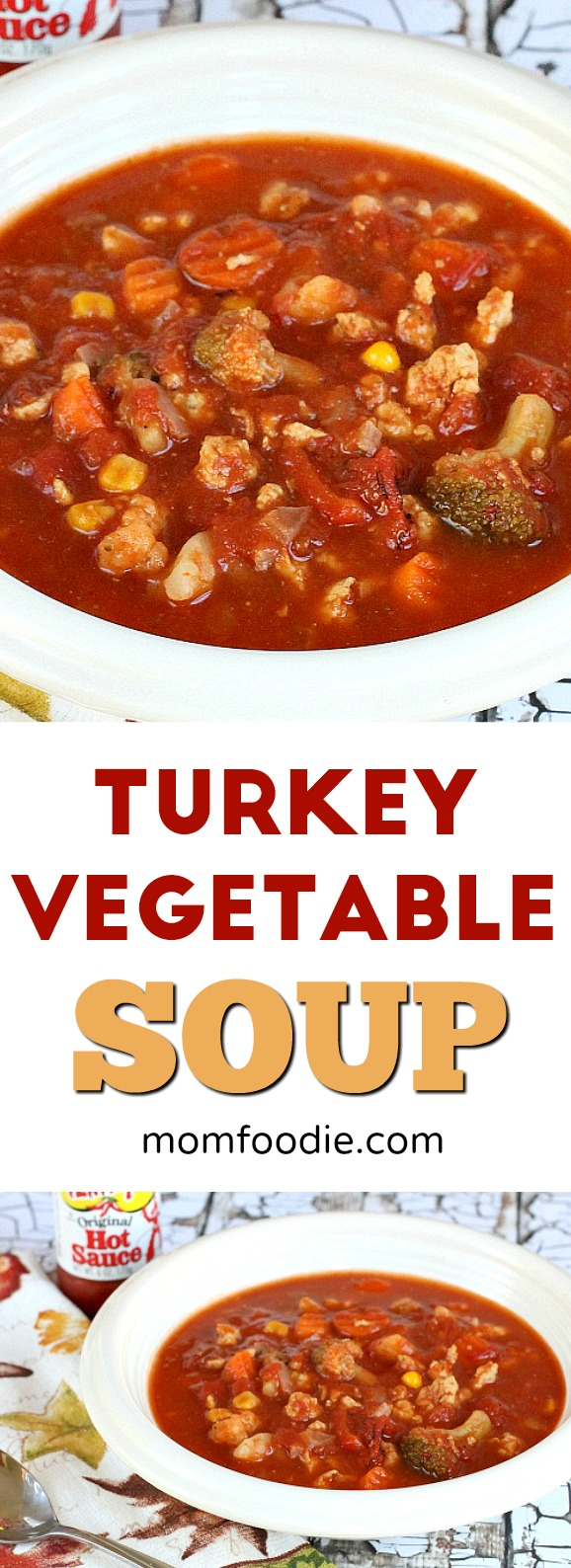 Turkey Vegetable Soup - Easy low calorie turkey vegetable soup recipe. Make it with ground turkey or leftovers.