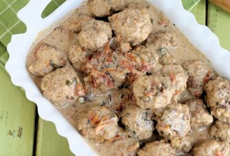 Turkey Meatballs in Sun-dried Tomato Almond Buttermilk Sauce