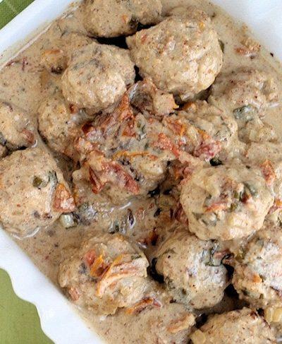 Turkey Meatballs in Sun-dried Tomato Almond Buttermilk Sauce