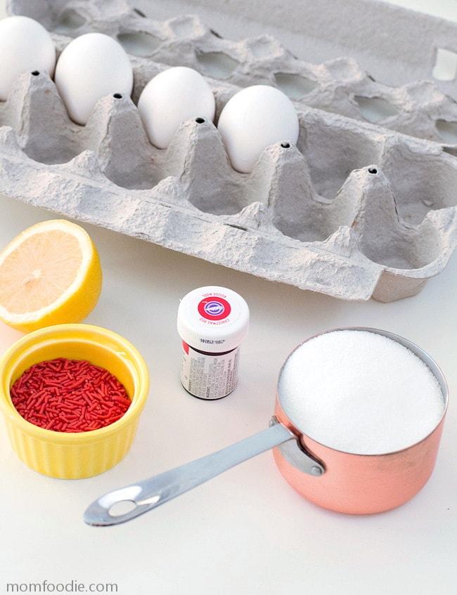 Valentine Meringue ingredients