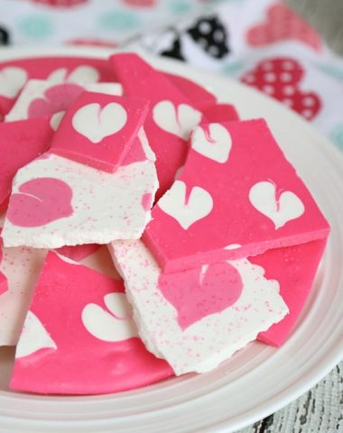 Valentine's Chocolate Bark with Swirled Heart Pattern
