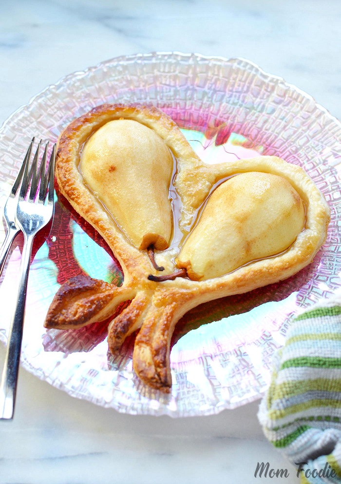 Valentines Dessert Heart Puff Pastry Pears