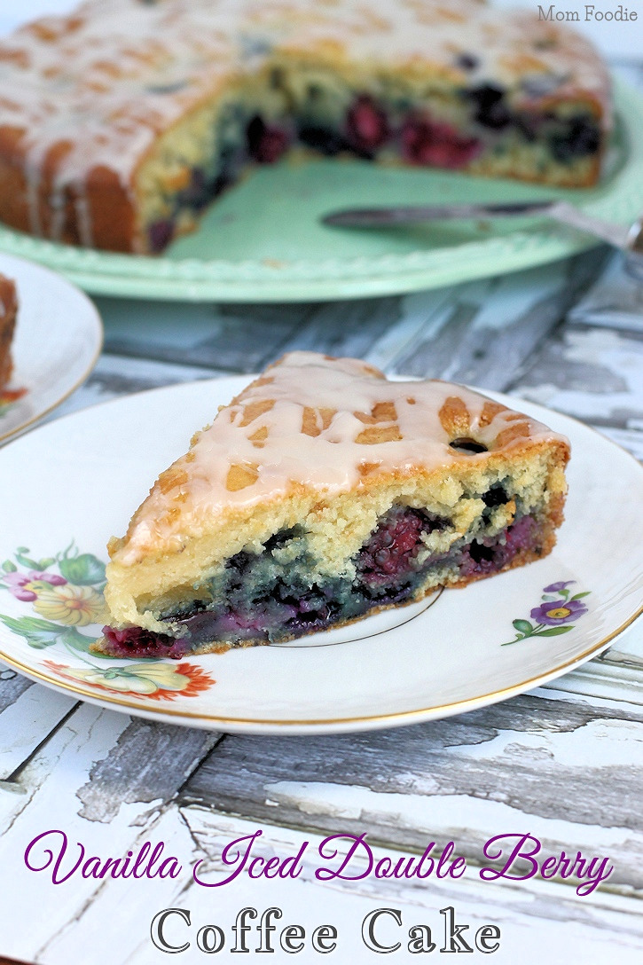 Double Berry Coffee Cake Recipe with Vanilla Icing