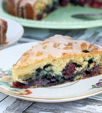 Vanilla Iced Double Berry Coffee Cake