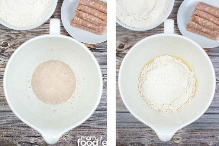 Yeast and flour for kolache