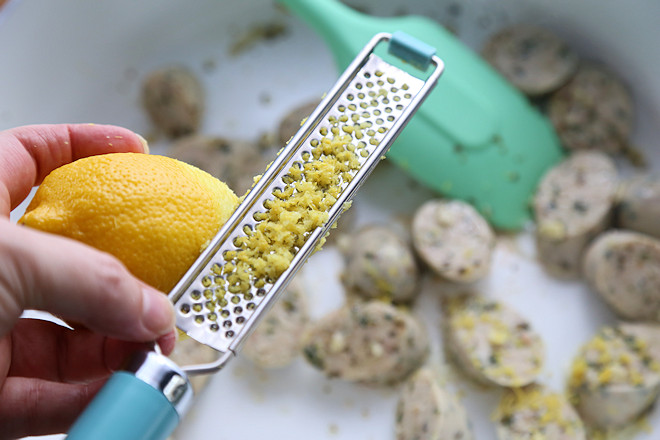 Zest lemon into pan