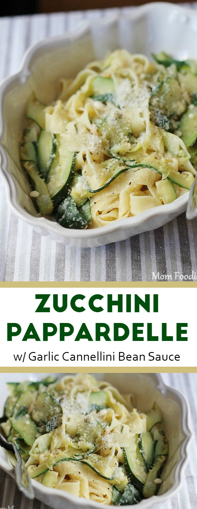 Zucchini Ribbons and Pappardelle with Garlic Cannellini Bean Sauce - Vegetarian Pasta Recipe