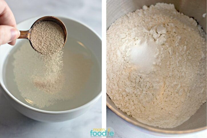 activating yeast and combining dry ingredients