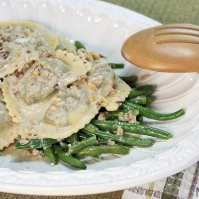Mushroom Agnolotti & Green Beans in Creamy Walnut Sauce Recipe (and why my freezer's full)
