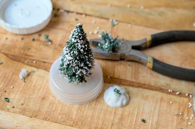 attach tree to snow globe base