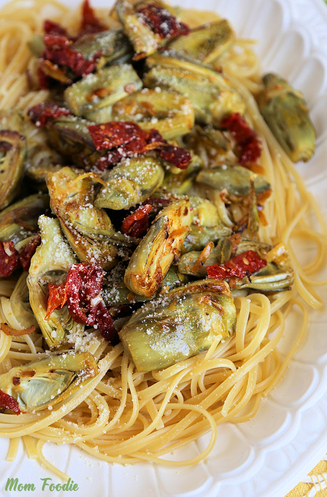 baby artichokes recipe over linguine