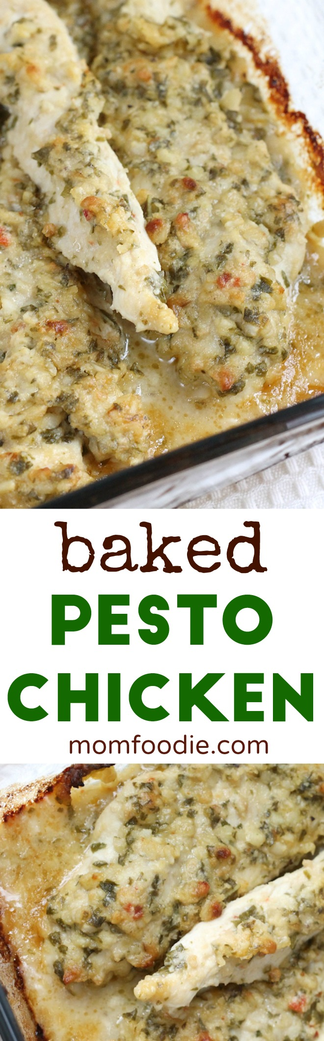 Baked Pesto Chicken Recipe #chickenrecipes #pesto #casserole