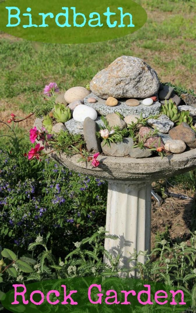 birdbath rock garden project