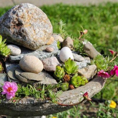 Birdbath Rock Garden: Upcyle Project