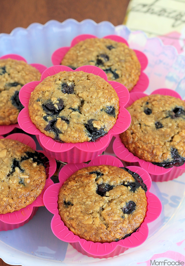 blueberry burst banana oatmeal muffins
