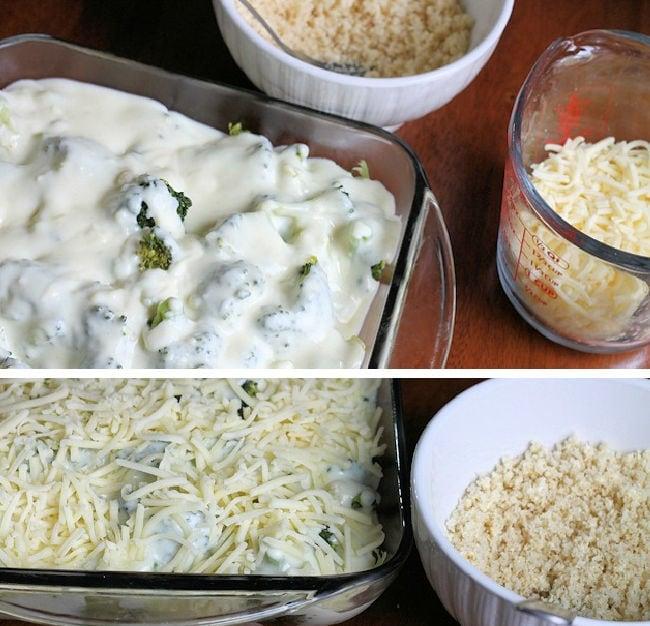 assembling the cheesy broccoli casserole