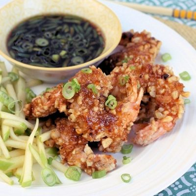Candied Walnut Shrimp with Asian Dipping Sauce & Green Apple Slaw