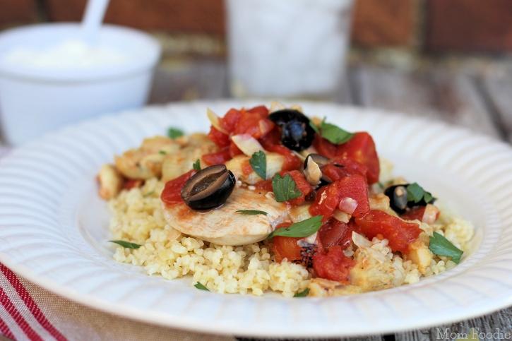 Chicken Artichoke Olive & Tomato Over Wheat Bulgur featured at Saturday Night Fever