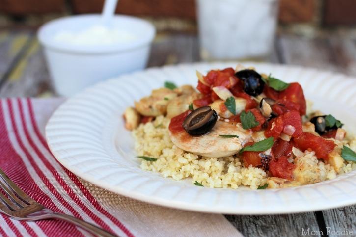 chicken artichokes olives tomato recipe over bulgur