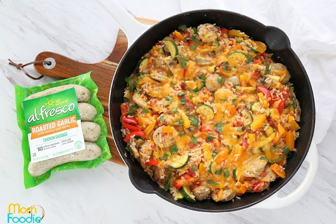 chicken sausage skillet with veggies