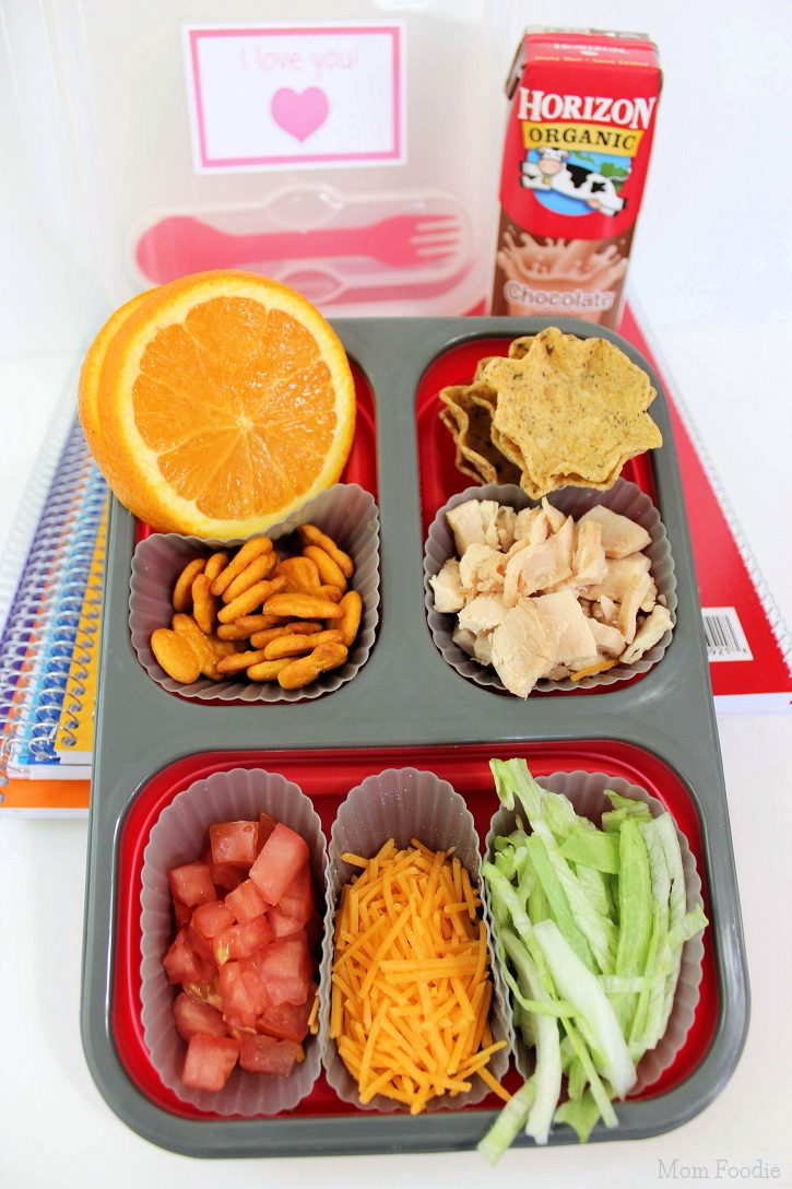 chicken taco bento lunch box with free printable notes