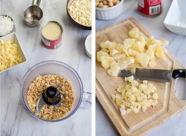 chopped pineapple and macadamia