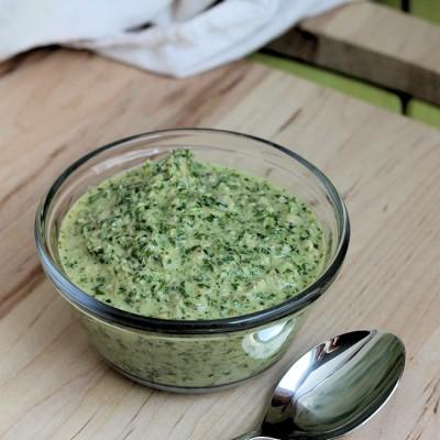 Cilantro-Walnut Pesto: A Healthy Condiment Recipe (gluten-free, vegan)