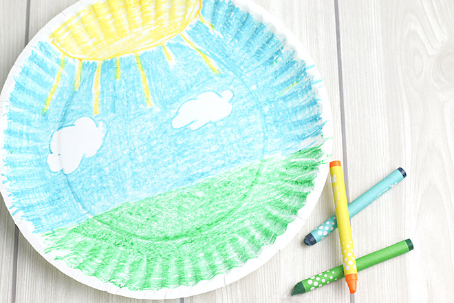 coloring paper plate
