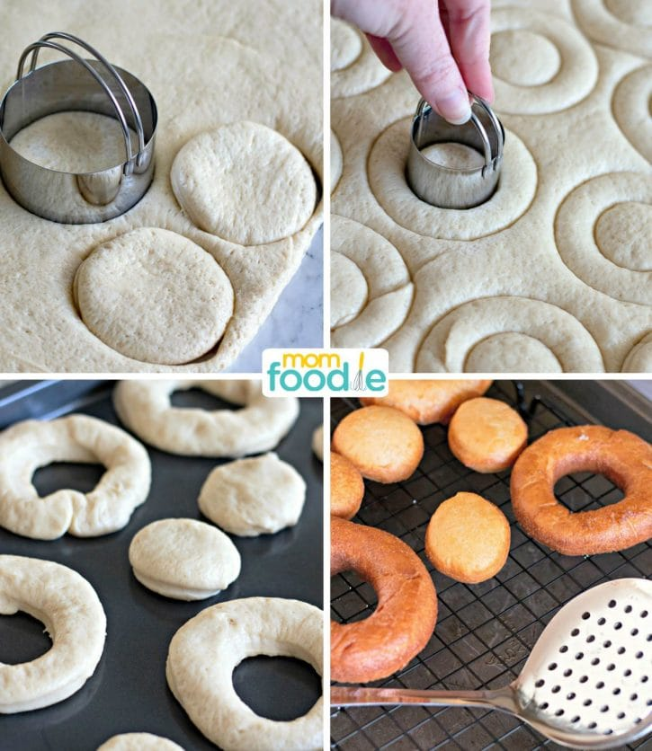 cutting and frying donuts