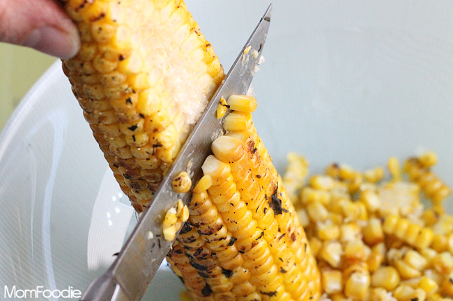 cutting corn from cob