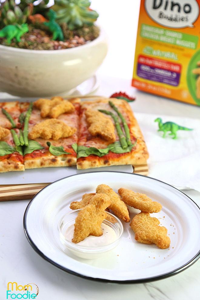 dinosaur garden and pizza