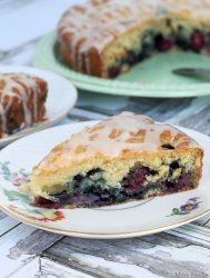 Vanilla Glazed Double Berry Coffee Cake