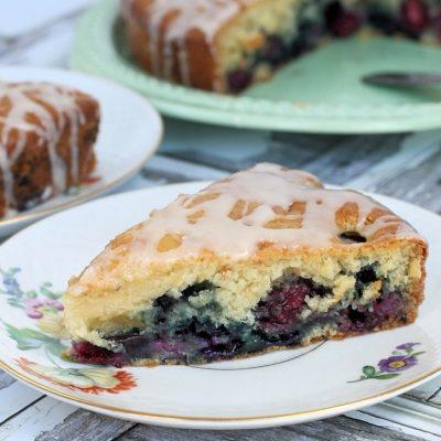 Vanilla Glazed Double Berry Coffee Cake