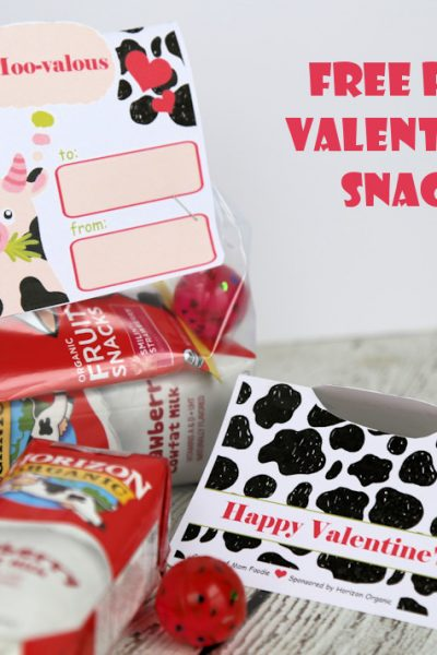 Organic Valentine's Day Snack Bags with Free Printable Cute Valentine Cow Card Toppers
