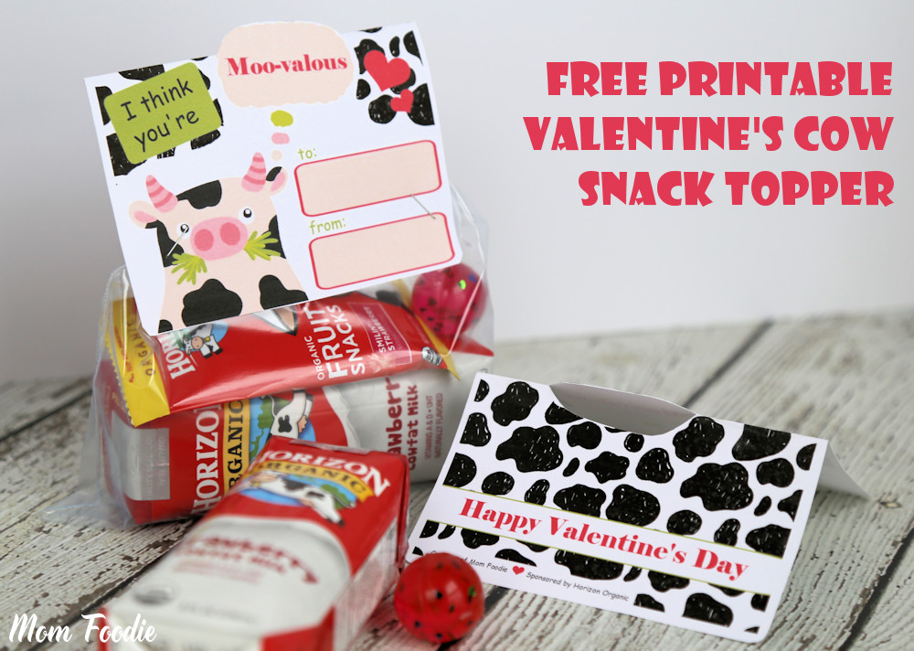 free Printable Valentines Cow Snack Topper