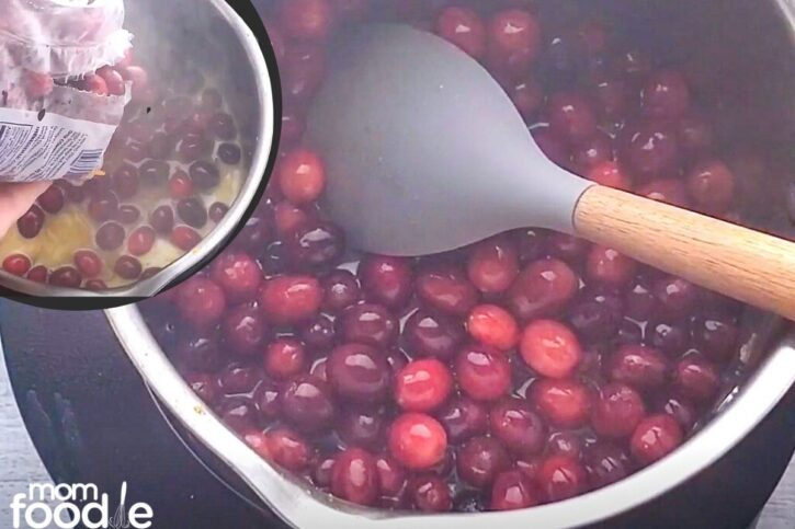 add cranberries (inset) Fresh cranberries orange spiced juice and sugar combined in pan boiling.