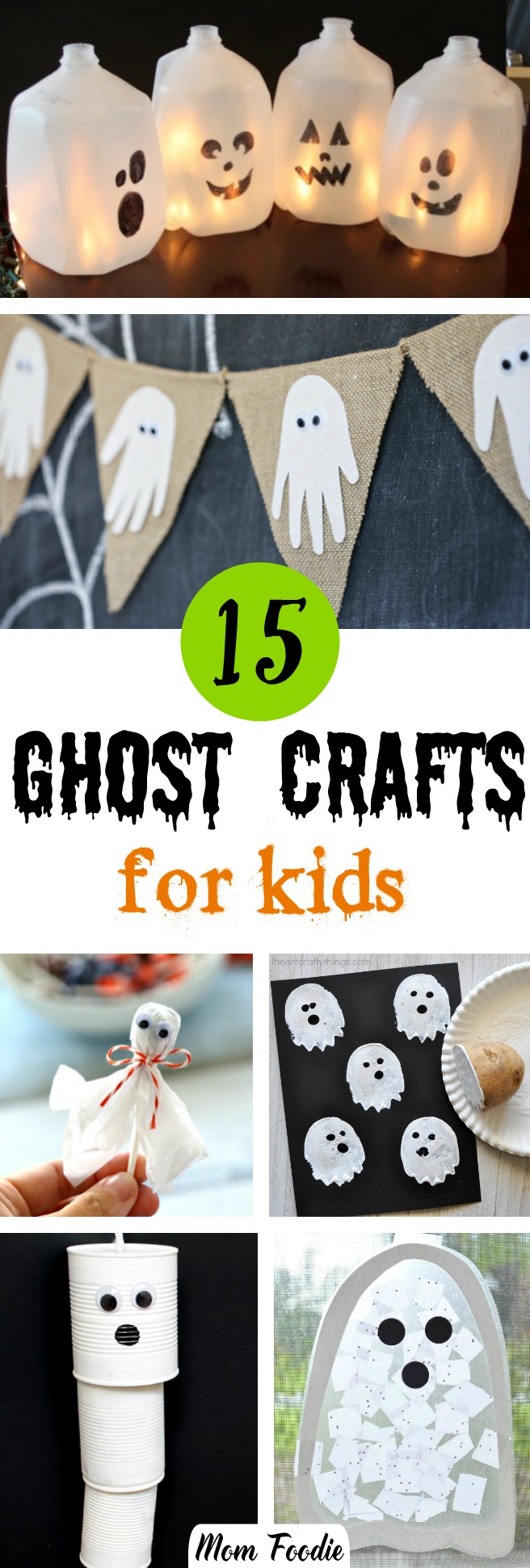 Halloween ghost crafts for kids - easy Halloween crafts kids will love doing that feature spooky ghosts.