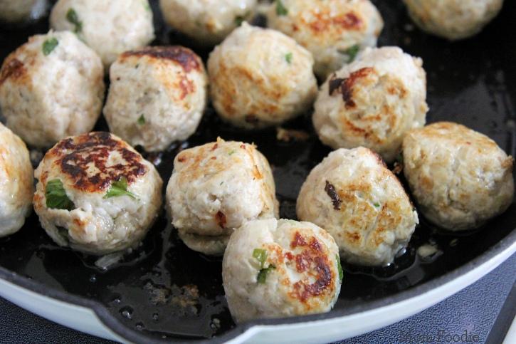 grain-free meatballs pan frying