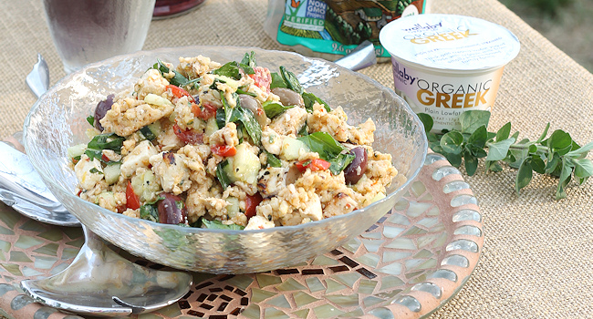 greek chicken & rice cake salad