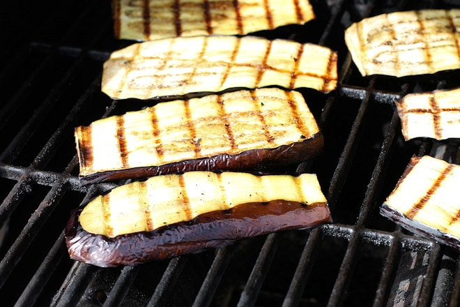 grilling eggplant slices