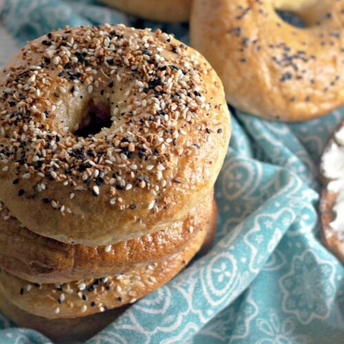homemade bagels with everything seasoning