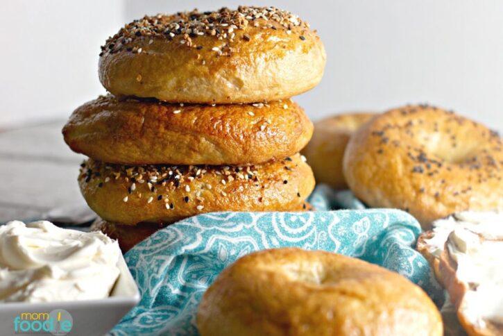 homemade everything bagels in basket