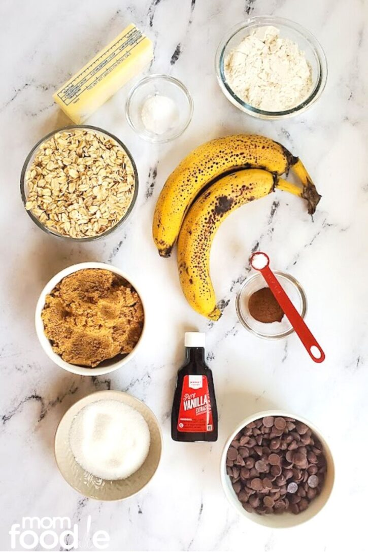 ingredients for banana oatmeal cookie recipe
