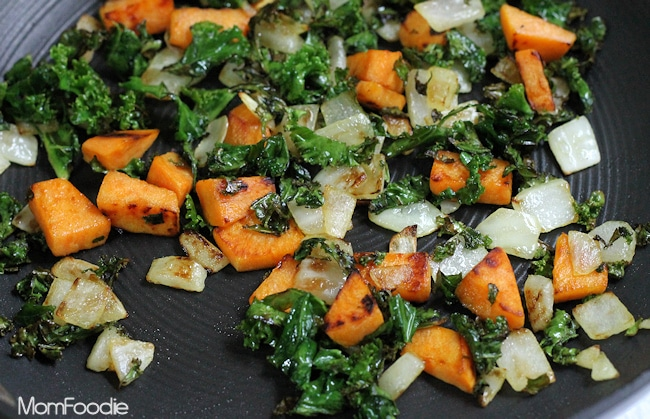 kale sweet potato and onion saute