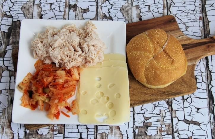 kimchi turkey swiss and roll