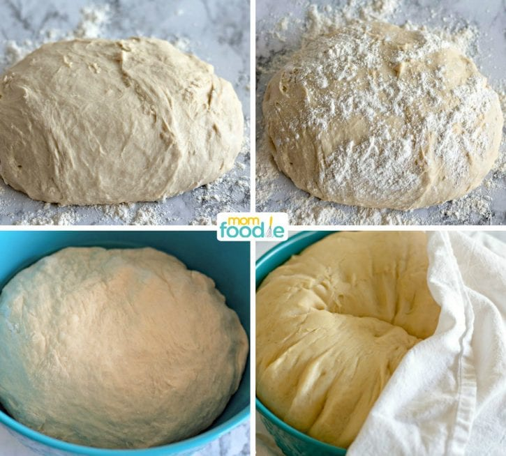 kneading raised donut dough