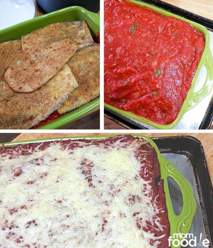 layering the eggplant parmesan casserole