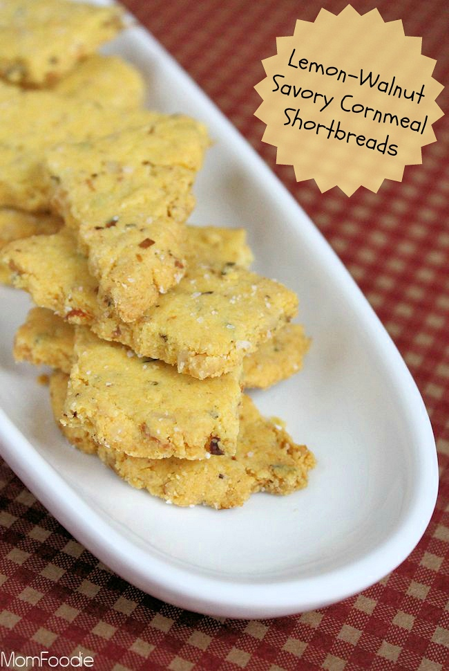 Lemon-Walnut Savory Cornmeal Shortbread Cracker Recipe